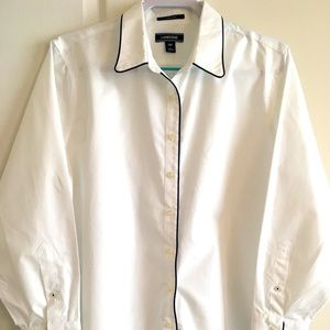 Crisp white Lands End shirt with dark blue trim.